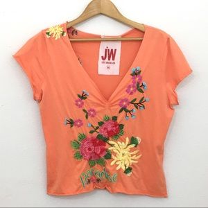 Johnny Was JWLA orange embroidered short sleeve M